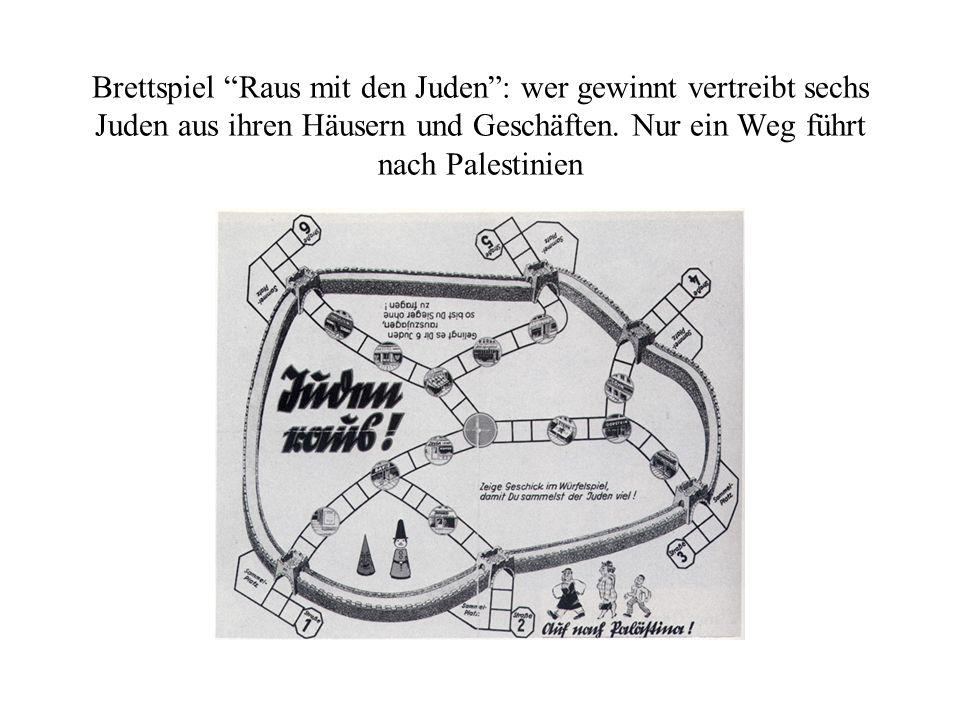 Brettspiel Raus mit den Juden: wer gewinnt vertreibt sechs Juden aus ihren Häusern und Geschäften.