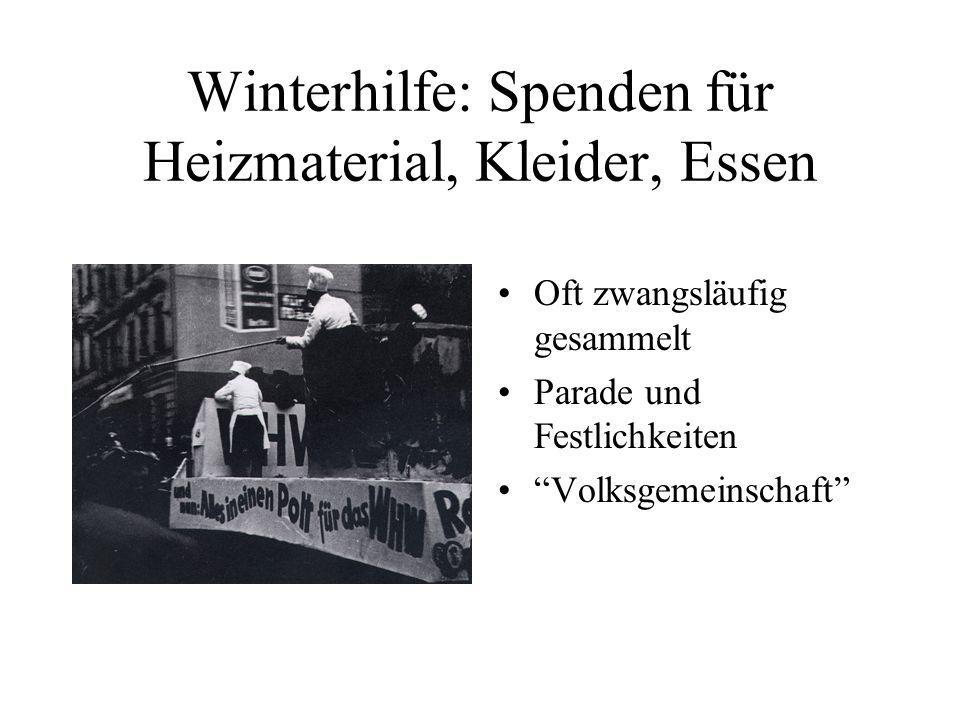 Winterhilfe: Spenden für Heizmaterial, Kleider, Essen Oft zwangsläufig gesammelt Parade und Festlichkeiten Volksgemeinschaft