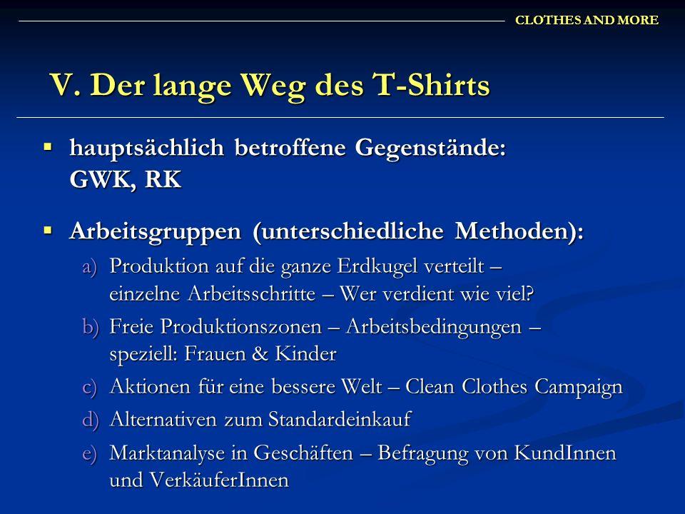 CLOTHES AND MORE V. Der lange Weg des T-Shirts V. Der lange Weg des T-Shirts hauptsächlich betroffene Gegenstände: GWK, RK hauptsächlich betroffene Ge