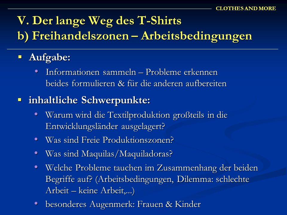 CLOTHES AND MORE V. Der lange Weg des T-Shirts b) Freihandelszonen – Arbeitsbedingungen inhaltliche Schwerpunkte: inhaltliche Schwerpunkte: Warum wird