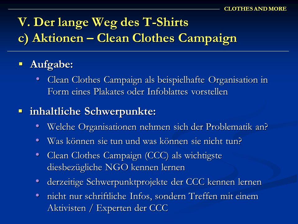 CLOTHES AND MORE V. Der lange Weg des T-Shirts c) Aktionen – Clean Clothes Campaign inhaltliche Schwerpunkte: inhaltliche Schwerpunkte: Welche Organis