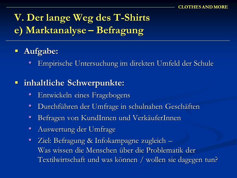 CLOTHES AND MORE V. Der lange Weg des T-Shirts e) Marktanalyse – Befragung inhaltliche Schwerpunkte: inhaltliche Schwerpunkte: Entwickeln eines Frageb