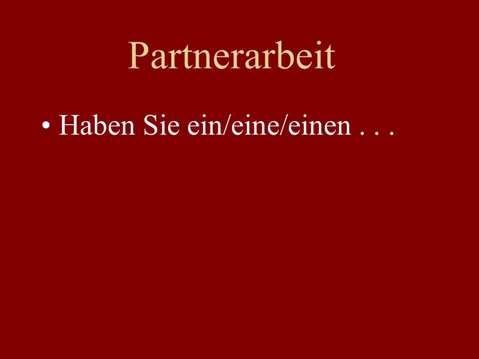 Partnerarbeit Haben Sie ein/eine/einen...