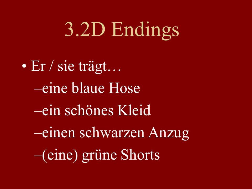 3.2D Endings Er / sie trägt… –eine blaue Hose –ein schönes Kleid –einen schwarzen Anzug –(eine) grüne Shorts