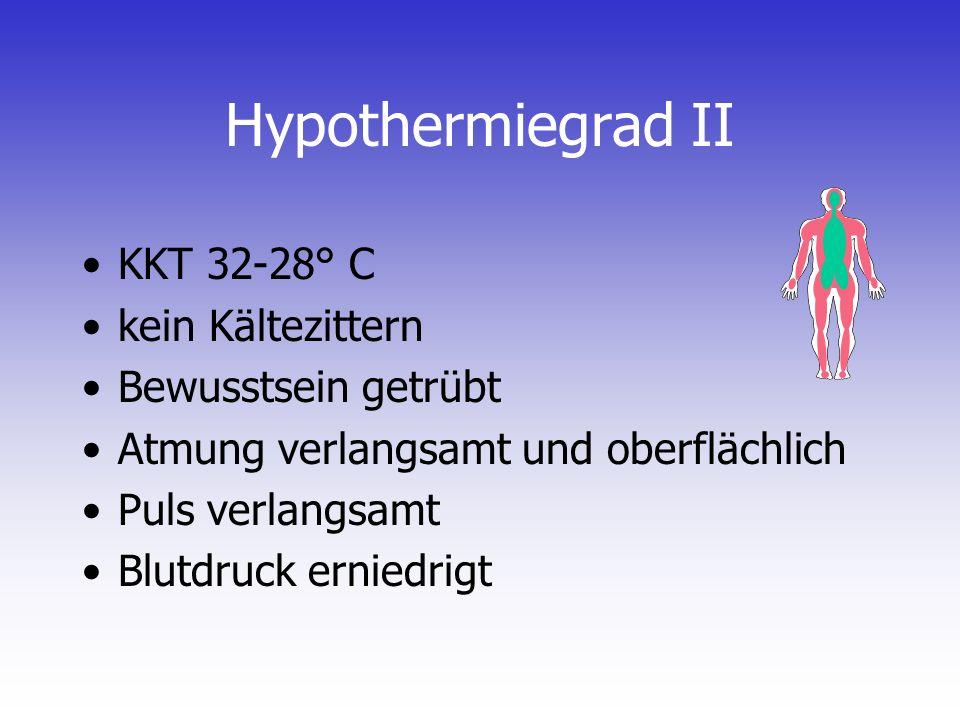 Hypothermiegrad II KKT 32-28° C kein Kältezittern Bewusstsein getrübt Atmung verlangsamt und oberflächlich Puls verlangsamt Blutdruck erniedrigt