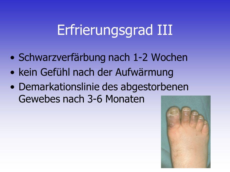 Erfrierungsgrad III Schwarzverfärbung nach 1-2 Wochen kein Gefühl nach der Aufwärmung Demarkationslinie des abgestorbenen Gewebes nach 3-6 Monaten