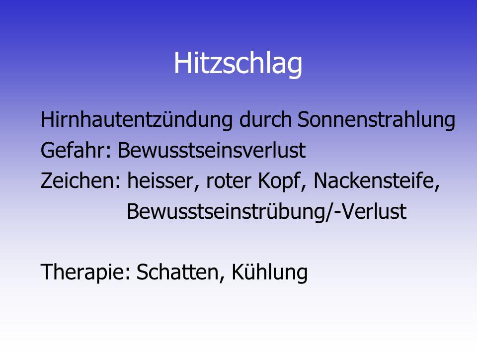 Hitzschlag Hirnhautentzündung durch Sonnenstrahlung Gefahr: Bewusstseinsverlust Zeichen: heisser, roter Kopf, Nackensteife, Bewusstseinstrübung/-Verlu