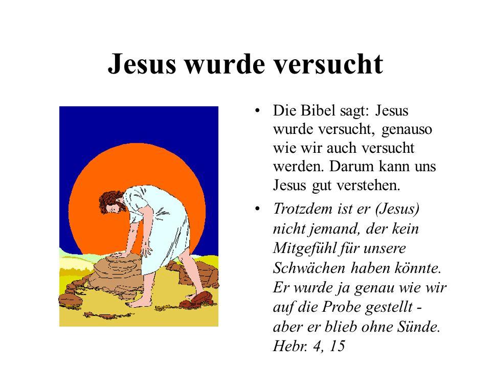 Jesus wurde versucht Die Bibel sagt: Jesus wurde versucht, genauso wie wir auch versucht werden. Darum kann uns Jesus gut verstehen. Trotzdem ist er (