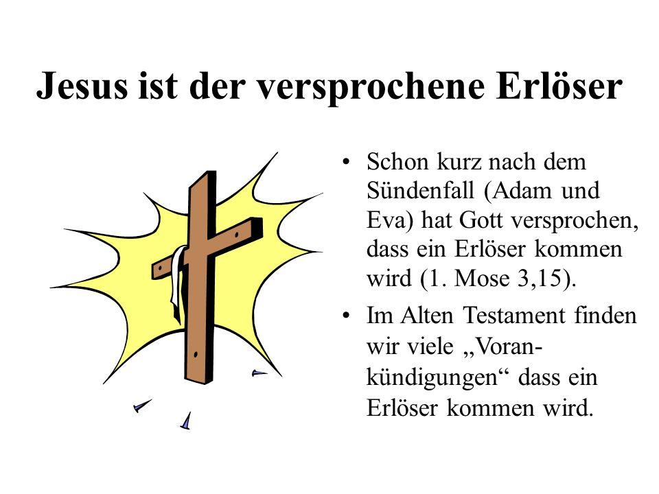 Jesus ist der versprochene Erlöser Schon kurz nach dem Sündenfall (Adam und Eva) hat Gott versprochen, dass ein Erlöser kommen wird (1. Mose 3,15). Im