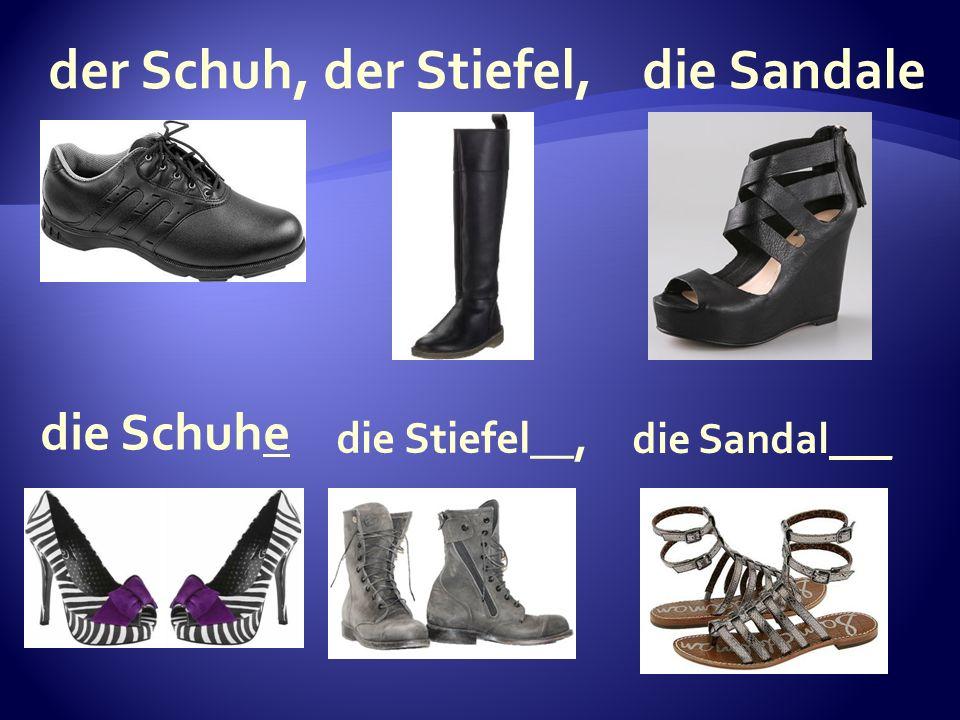 die Sandal___ die Stiefel__, die Schuhe