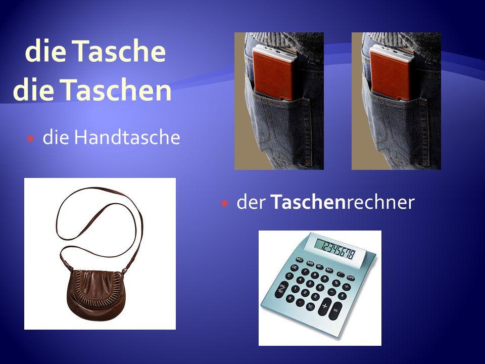 die Handtasche der Taschenrechner die Taschen