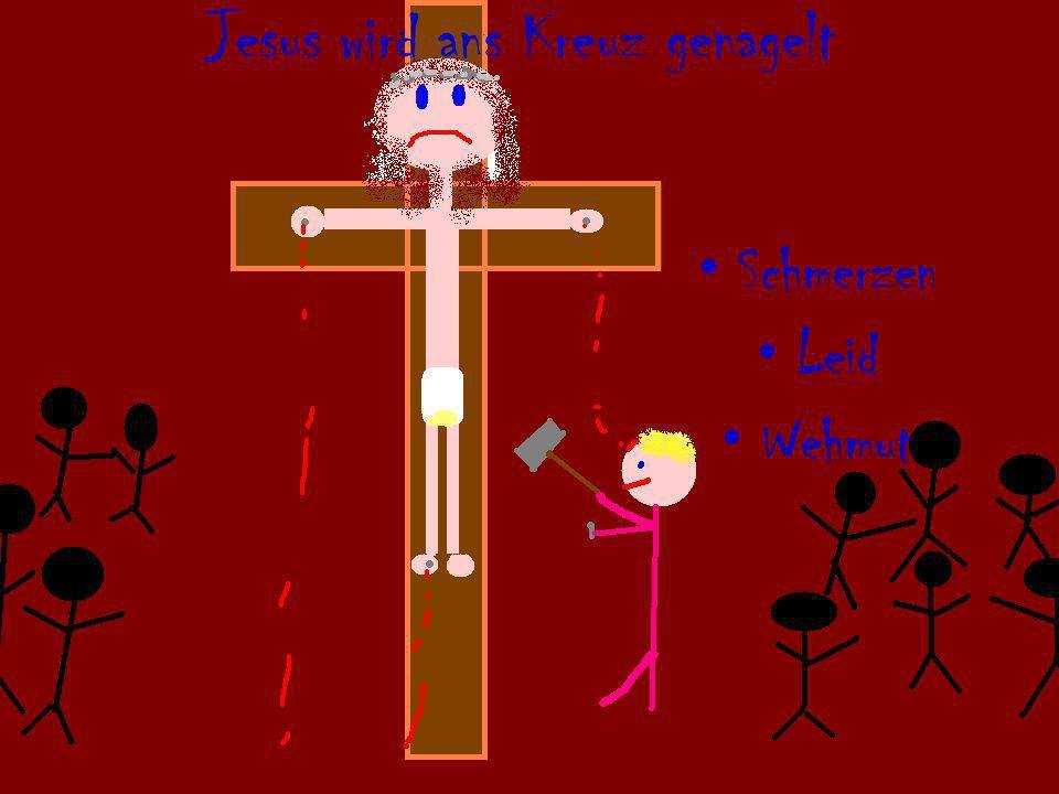 Jesus wird ans Kreuz genagelt Schmerzen Leid Wehmut