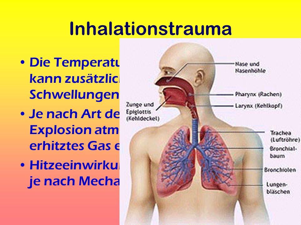 Inhalationstrauma Die Temperatur der eingeatmeten Gase kann zusätzliche Schädigungen / Schwellungen hervorrufen Je nach Art der Verbrennung / Explosio