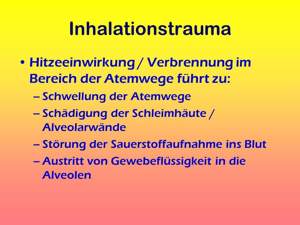 Inhalationstrauma Hitzeeinwirkung / Verbrennung im Bereich der Atemwege führt zu: –Schwellung der Atemwege –Schädigung der Schleimhäute / Alveolarwänd
