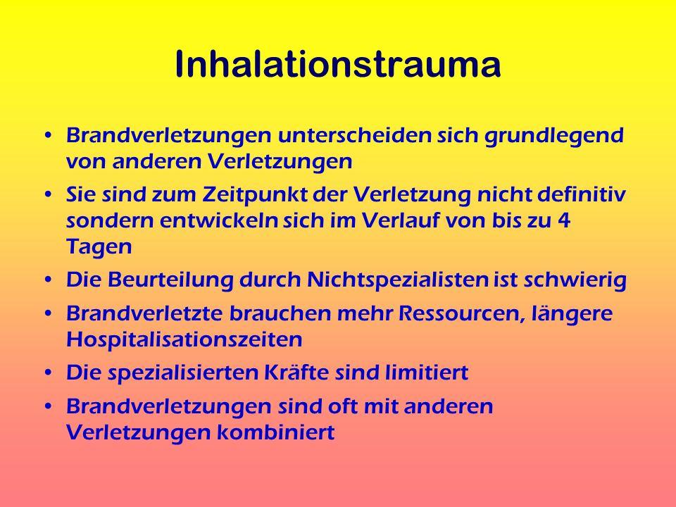 Inhalationstrauma Brandverletzungen unterscheiden sich grundlegend von anderen Verletzungen Sie sind zum Zeitpunkt der Verletzung nicht definitiv sond