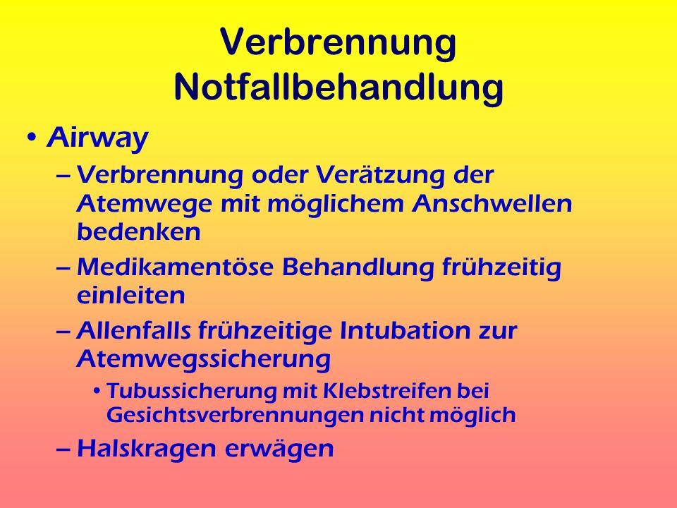 Verbrennung Notfallbehandlung Breathing –SAUERSTOFF !!.