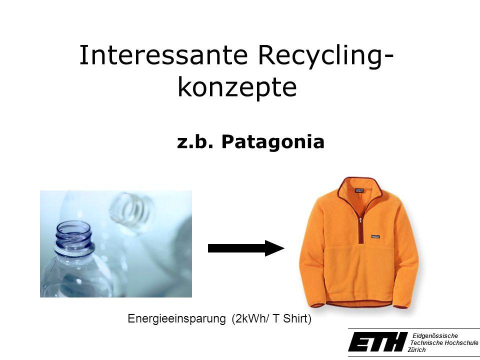 Interessante Recycling- konzepte z.b. Patagonia Eidgenössische Technische Hochschule Zürich Energieeinsparung (2kWh/ T Shirt)
