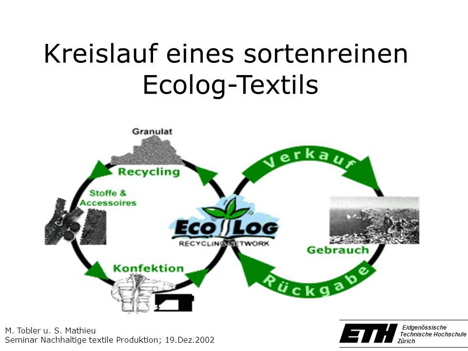 Kreislauf eines sortenreinen Ecolog-Textils M. Tobler u. S. Mathieu Seminar Nachhaltige textile Produktion; 19.Dez.2002 Eidgenössische Technische Hoch
