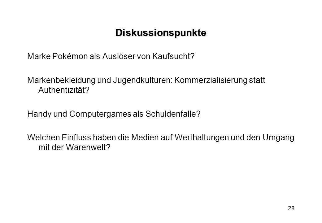 28 Diskussionspunkte Marke Pokémon als Auslöser von Kaufsucht.