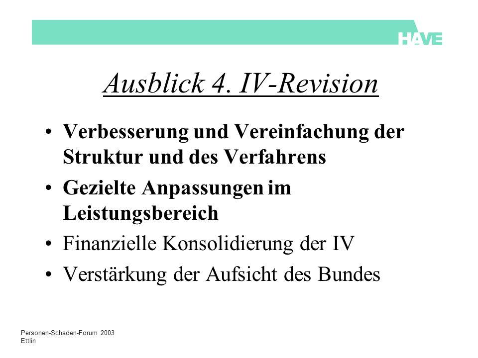 Personen-Schaden-Forum 2003 Ettlin Ausblick 4. IV-Revision Verbesserung und Vereinfachung der Struktur und des Verfahrens Gezielte Anpassungen im Leis