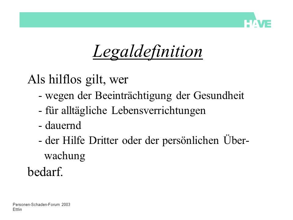 Personen-Schaden-Forum 2003 Ettlin Legaldefinition Als hilflos gilt, wer - wegen der Beeinträchtigung der Gesundheit - für alltägliche Lebensverrichtungen - dauernd - der Hilfe Dritter oder der persönlichen Über- wachung bedarf.
