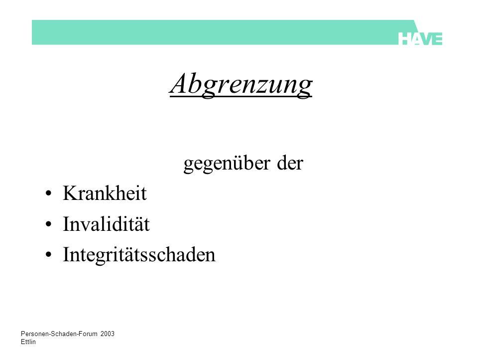 Personen-Schaden-Forum 2003 Ettlin Abgrenzung gegenüber der Krankheit Invalidität Integritätsschaden