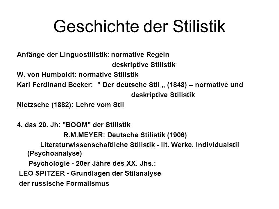 Geschichte der Stilistik Anfänge der Linguostilistik: normative Regeln deskriptive Stilistik W. von Humboldt: normative Stilistik Karl Ferdinand Becke