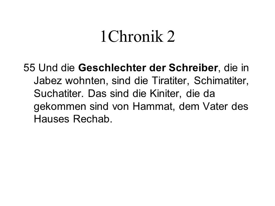 1Chronik 2 55 Und die Geschlechter der Schreiber, die in Jabez wohnten, sind die Tiratiter, Schimatiter, Suchatiter. Das sind die Kiniter, die da geko