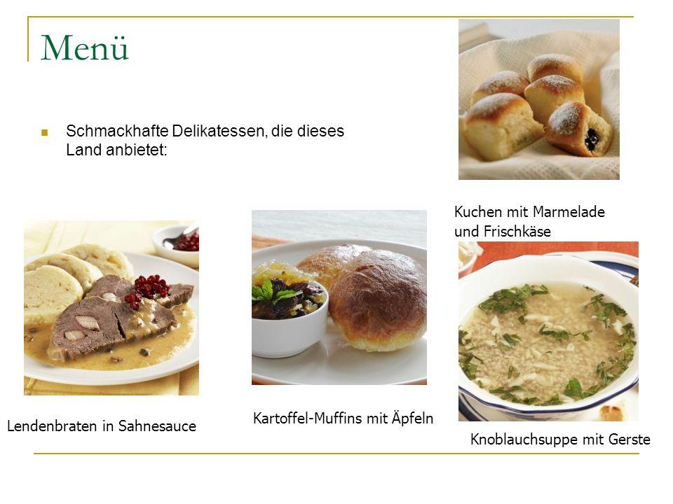 Menü Schmackhafte Delikatessen, die dieses Land anbietet: Lendenbraten in Sahnesauce Kartoffel-Muffins mit Äpfeln Knoblauchsuppe mit Gerste Kuchen mit
