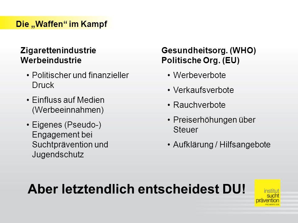 Zigaretten- industrie Werbung War on Tobacco Gesundheitsorg. (WHO) Politische Org. (EU)