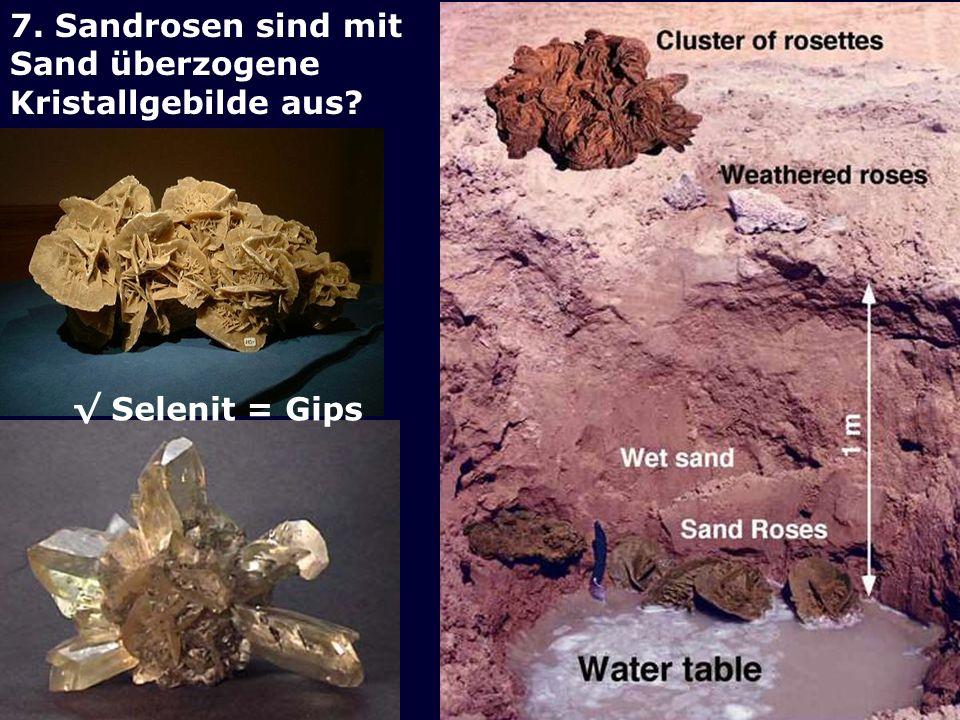 7. Sandrosen sind mit Sand überzogene Kristallgebilde aus? Selenit = Gips