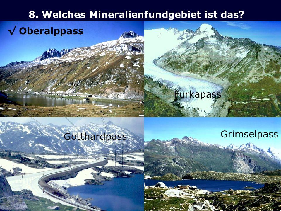 8. Welches Mineralienfundgebiet ist das? Furkapass Gotthardpass Grimselpass Oberalppass