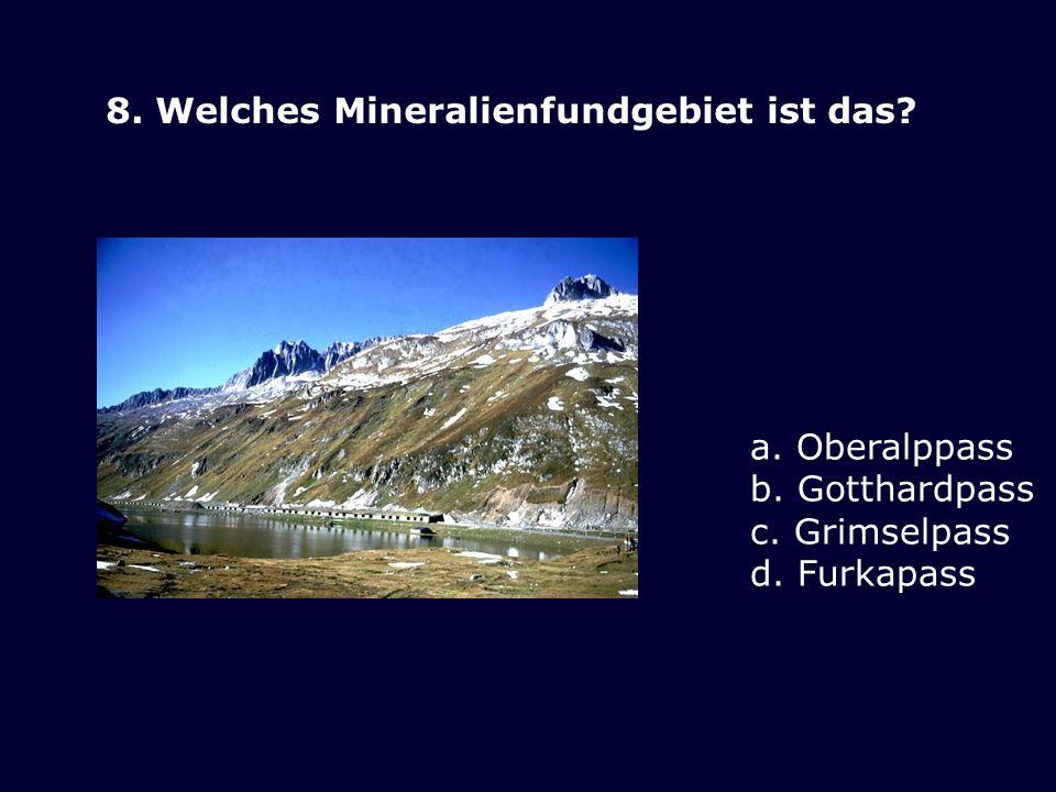 8. Welches Mineralienfundgebiet ist das? a. Oberalppass b. Gotthardpass c. Grimselpass d. Furkapass