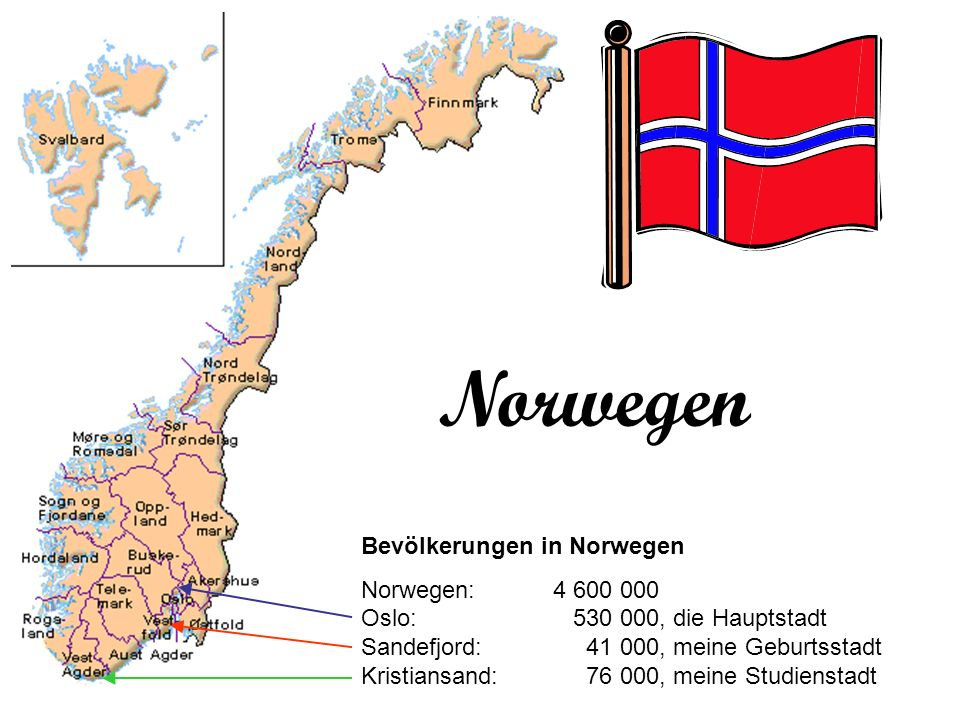 Norwegen Bevölkerungen in Norwegen Norwegen:4 600 000 Oslo: 530 000, die Hauptstadt Sandefjord: 41 000, meine Geburtsstadt Kristiansand: 76 000, meine