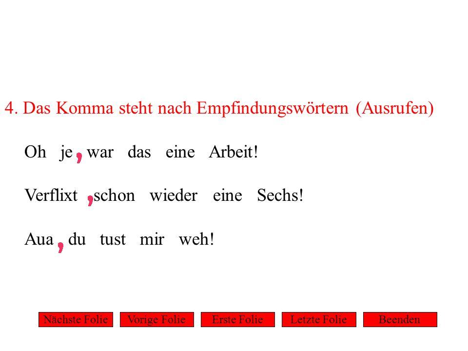 5.Das Komma schließt Appositionen 2 ein. Der Direktor ein alter Fuchs lächelte.