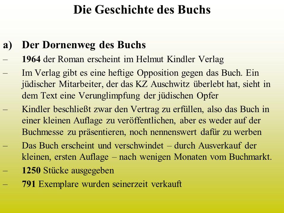 Die Geschichte des Buchs a)Der Dornenweg des Buchs –1964 der Roman erscheint im Helmut Kindler Verlag –Im Verlag gibt es eine heftige Opposition gegen