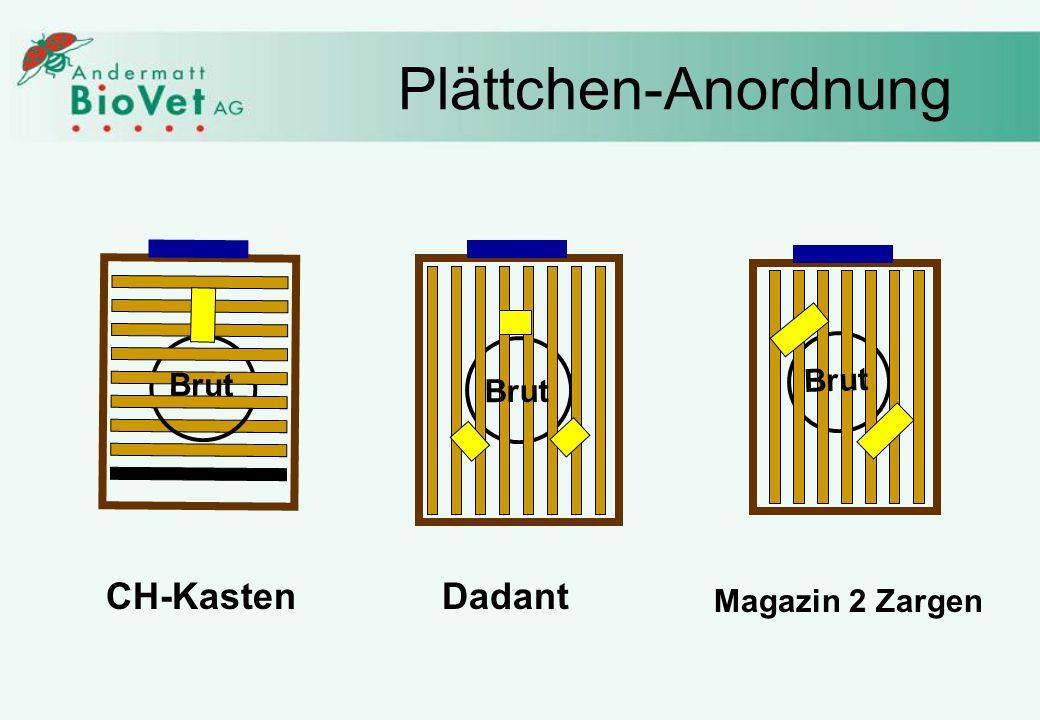 Plättchen-Anordnung CH-KastenDadant Magazin 2 Zargen Brut