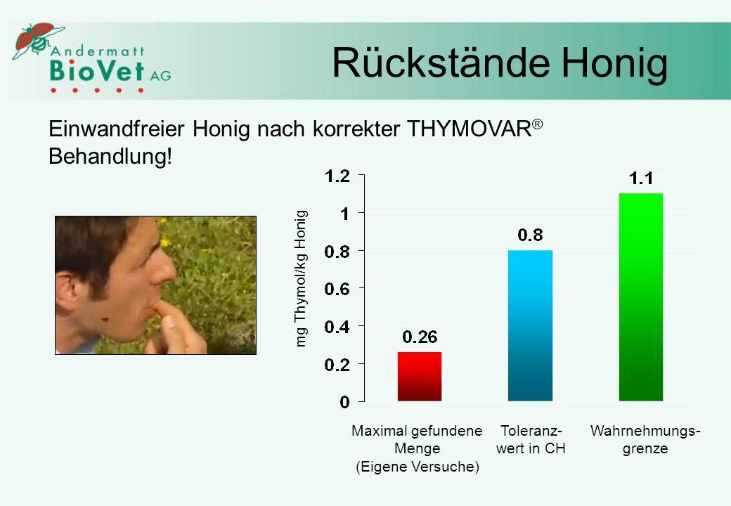 Rückstände Honig Toleranz- wert in CH Maximal gefundene Menge (Eigene Versuche) Wahrnehmungs- grenze Einwandfreier Honig nach korrekter THYMOVAR ® Behandlung.