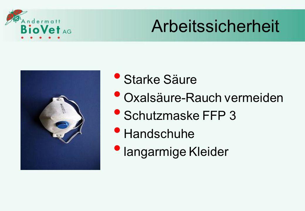 Arbeitssicherheit Starke Säure Oxalsäure-Rauch vermeiden Schutzmaske FFP 3 Handschuhe langarmige Kleider