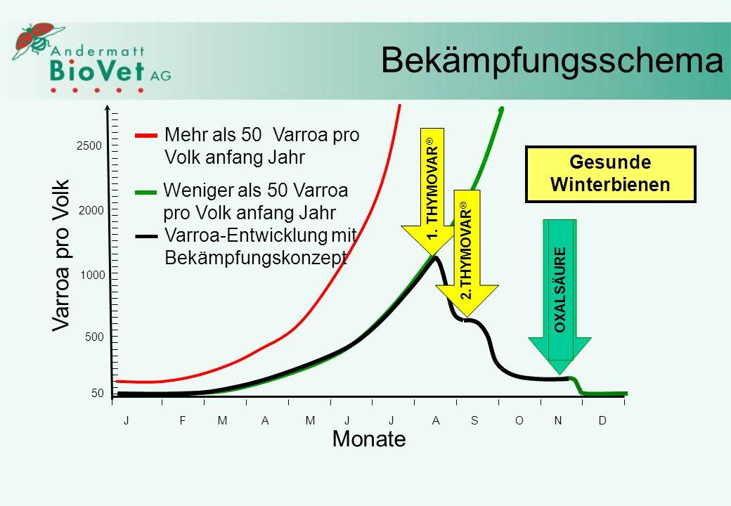 Weniger als 50 Varroa pro Volk anfang Jahr Bekämpfungsschema JFMAMJJASOND 50 500 1000 2000 2500 Varroa pro Volk Monate Mehr als 50 Varroa pro Volk anf