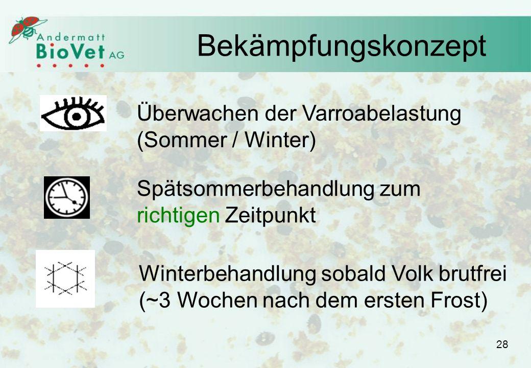 Bekämpfungskonzept Überwachen der Varroabelastung (Sommer / Winter) Spätsommerbehandlung zum richtigen Zeitpunkt Winterbehandlung sobald Volk brutfrei (~3 Wochen nach dem ersten Frost) 28