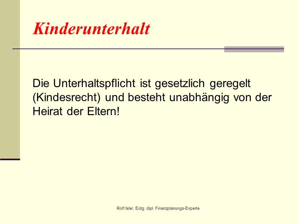 Kinderunterhalt Die Unterhaltspflicht ist gesetzlich geregelt (Kindesrecht) und besteht unabhängig von der Heirat der Eltern! Rolf Isler, Eidg. dipl.