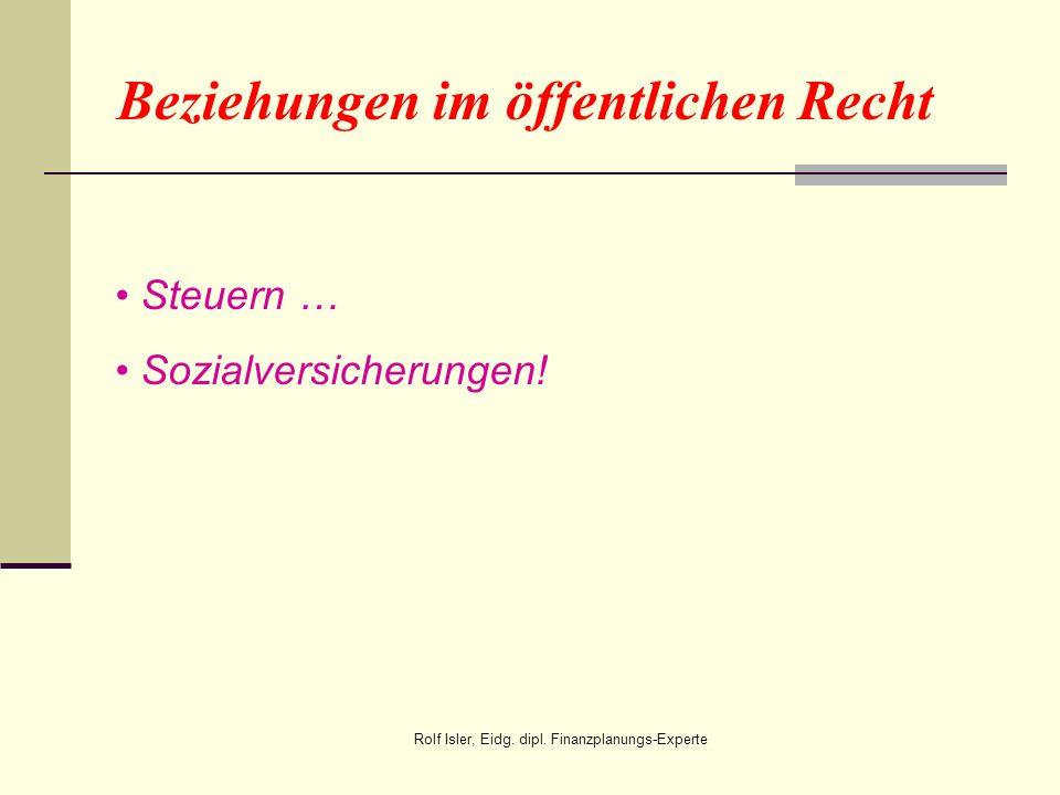 Beziehungen im öffentlichen Recht Steuern … Sozialversicherungen! Rolf Isler, Eidg. dipl. Finanzplanungs-Experte