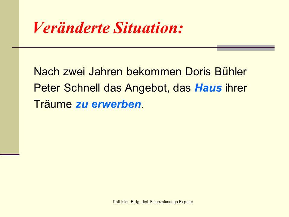 Veränderte Situation: Nach zwei Jahren bekommen Doris Bühler Peter Schnell das Angebot, das Haus ihrer Träume zu erwerben. Rolf Isler, Eidg. dipl. Fin