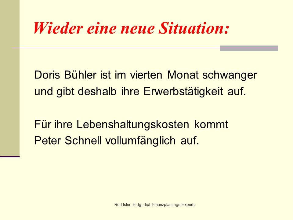 Wieder eine neue Situation: Doris Bühler ist im vierten Monat schwanger und gibt deshalb ihre Erwerbstätigkeit auf. Für ihre Lebenshaltungskosten komm