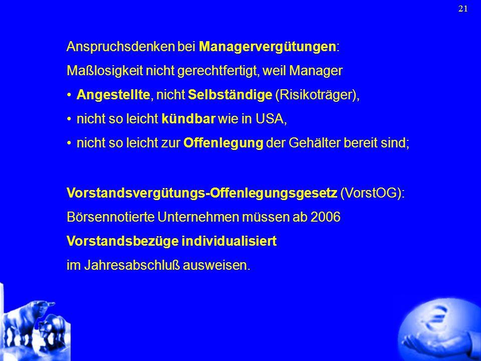 21 Vorstandsvergütungs-Offenlegungsgesetz (VorstOG): Börsennotierte Unternehmen müssen ab 2006 Vorstandsbezüge individualisiert im Jahresabschluß ausw