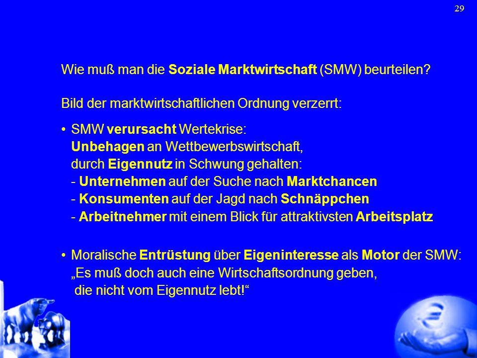 29 Wie muß man die Soziale Marktwirtschaft (SMW) beurteilen? Bild der marktwirtschaftlichen Ordnung verzerrt: SMW verursacht Wertekrise: Unbehagen an