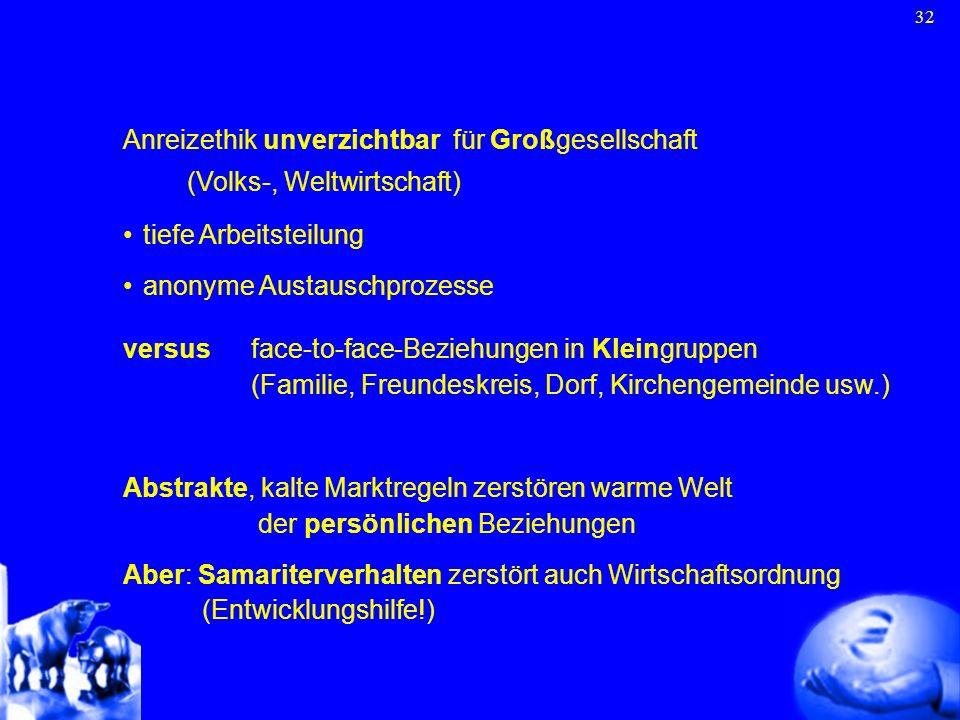 32 Anreizethik unverzichtbar für Großgesellschaft (Volks-, Weltwirtschaft) tiefe Arbeitsteilung anonyme Austauschprozesse versus face-to-face-Beziehun