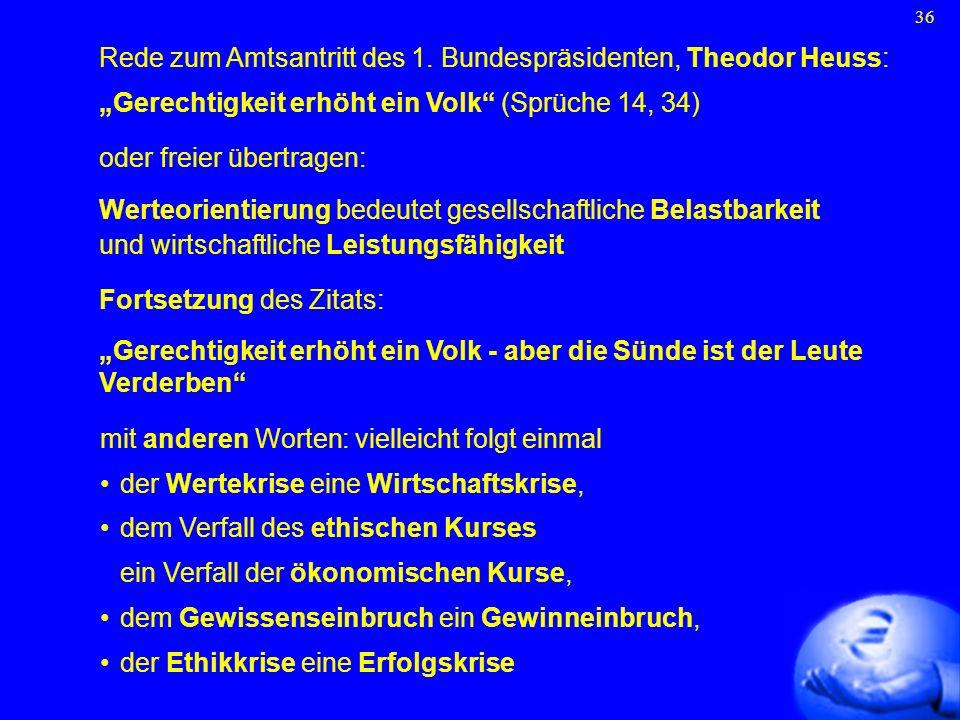 36 Rede zum Amtsantritt des 1. Bundespräsidenten, Theodor Heuss: Gerechtigkeit erhöht ein Volk (Sprüche 14, 34) oder freier übertragen: Werteorientier