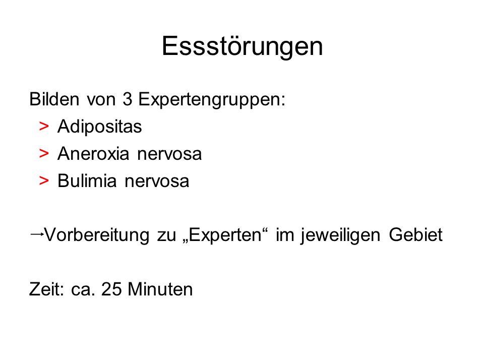 Essstörungen Bilden von 3 Expertengruppen: >Adipositas >Aneroxia nervosa >Bulimia nervosa Vorbereitung zu Experten im jeweiligen Gebiet Zeit: ca. 25 M